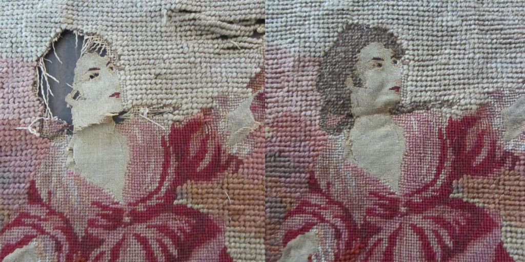 Needlepoint and petit point work, destroyed by dry cleaning