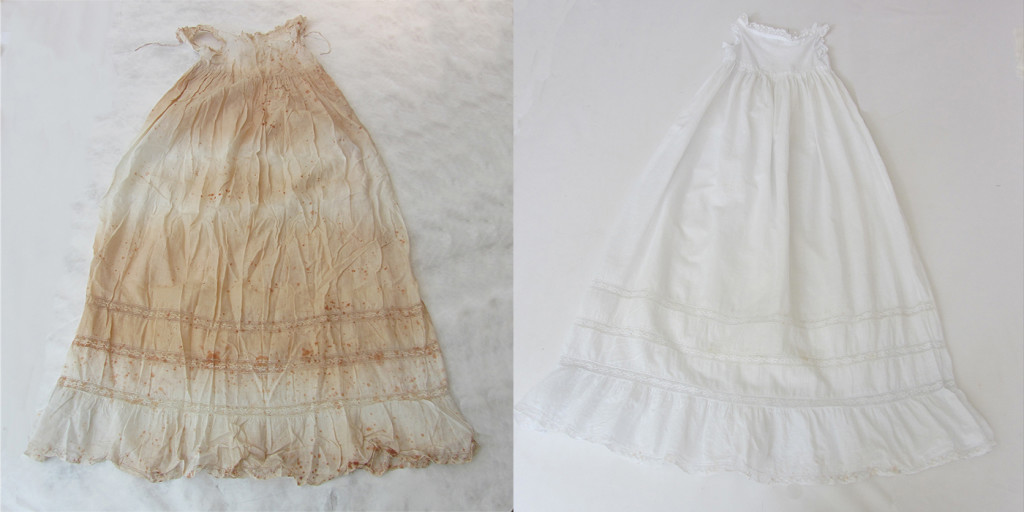Family christening dress, stored without cover in camphor chest