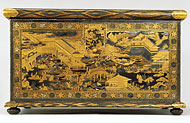 front view of the seventeenth-century Mazarin chest, depicting scenes from The Tale of Genji. Photo: Victoria & Albert Museum/V&A Images.