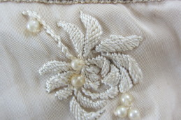 beaded rosette on wedding dress